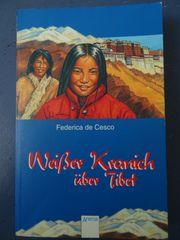 Weißer Kranich über Tibet von