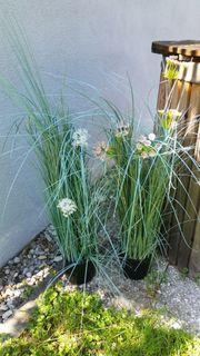 Deko-Kunst-Gräser 2 Stück mit Blumen
