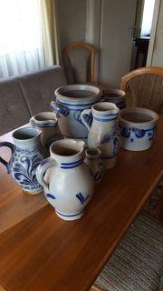 12 Schmalztöpfe Krüge aus Keramik