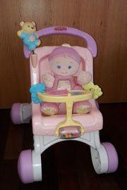 Mattel Fisher-Price Lauflernwagen mit Puppe