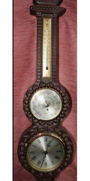 Wanduhr mit Barometer und Thermometer