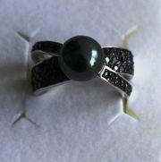 Massiver 925 Silberring mit Onyxsteinen