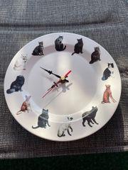 Uhr Keramikwanduhr mit Katzenmotiven Durchmesser