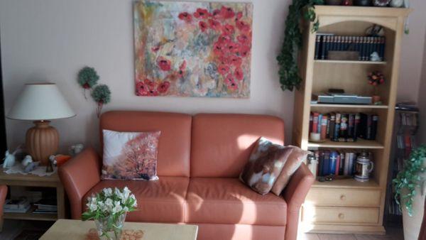 tolle Echtleder Couch mit 2