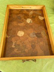 Holztablett mit Glaseinlage aus den