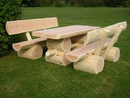 Bild 4 - Massive Holzgarnitur Sinnesbank Sitzgruppe Gartengarnitur - Wadern