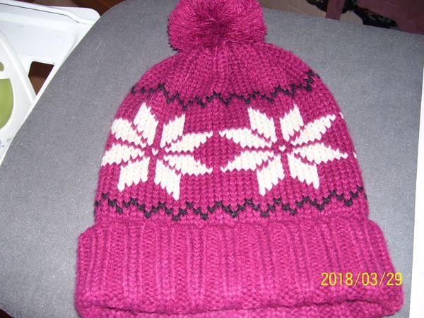 Mütze Fb bordeaux mit Norwegermuster