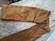 Camelfarbene lange Lederhose neu