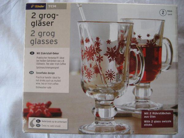Grog Gläser 2 Stk mit 2 Rührstäbchen Schneeflocken bzw. Eiskristall Dekor Tchibo NEU