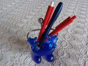 Vintage - Stiftehalter blau silber Kunststoff