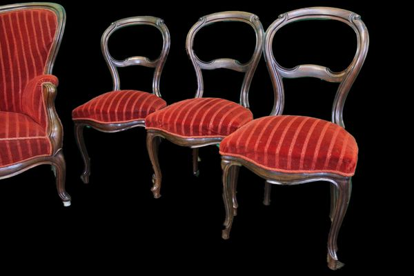 Antik 4 X Stuhl Biedermeier Louis Philippe Barock Top Angebot