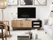 TV-Möbel heller Holzfarbton schwarz ABILEN neu
