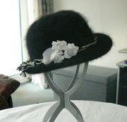 Angorahut schwarz Wollhut Blume 54