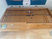 Möbelum Naturholz Gäste-Kinder-Jugend-Bett mit Schublade