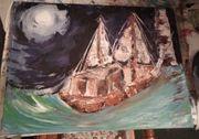Gemälde Bild Segelschiff und Leuchtturm