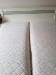 Bett 180x200cm weiß mit Nachttischen