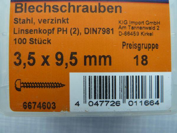 Blechschrauben Stahl, verzinkt, 3, 5 x 9, 5 mm - neu - 3 x 100 Stück