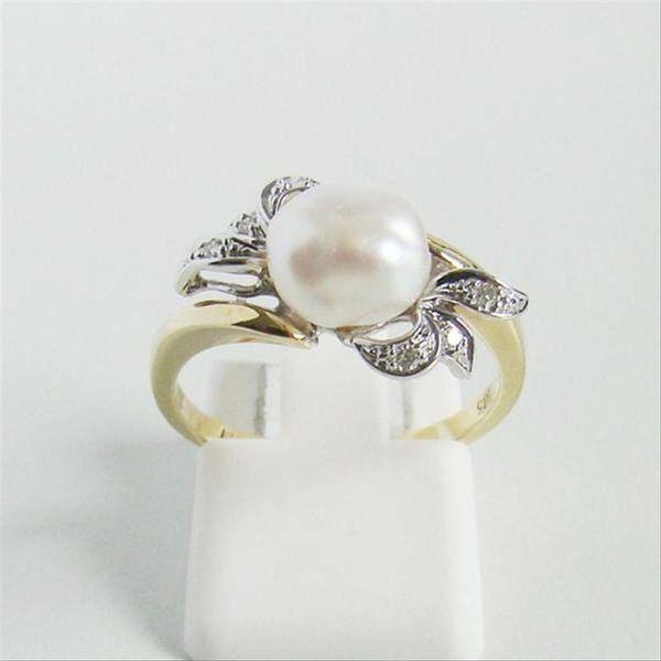 Ring Gold 585er Brillanten Biwaperle
