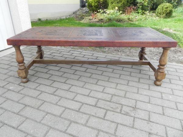 edler Couchtisch Herrenzimmer Leder Inka Motiv Beistelltisch Tisch ...