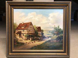 Gemälde Pferdefuhrwerk in bäuerlicher Landschaft mit Holzrahmen von O. Wagner