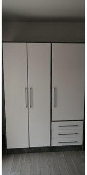 Kleiderschrank - Betonoptik- weiß - 145 cm