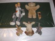 6 alte Steiff-Tiere mit Knopf