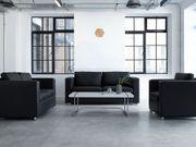 Sofa Set Leder schwarz 6-Sitzer