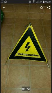 Altes Triopan Faltsignal Elektroarbeiten gelb