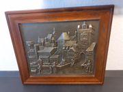 Zinnbild mit Holzrahmen Kunst Antiquitäten