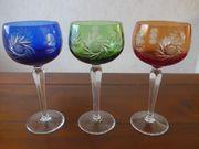 3 farbige Nachtmann Weingläser Schleuderstern