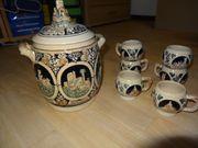Bowle Service mit Rhein-Burgenmotive Keramik