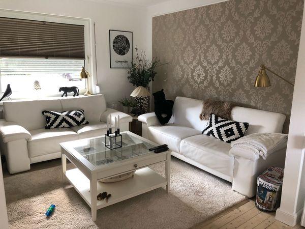 2 Echt Leder Couch Weiß