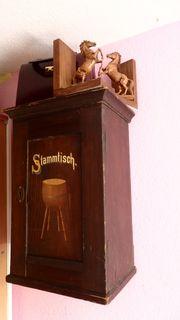 Hängeschränkchen Schränkchen Stammtischaufschrift antik alt