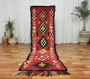 Vintage handgefertigte-handmade Marokkanische Wolle Läufer