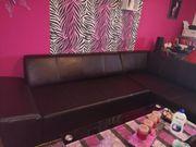Kunstleder Couch in schwarz