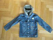 Jeansjacke mit Kapuze abknöpfbar Gr