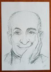 Zeichnung Bild lächelnder Mann Louis