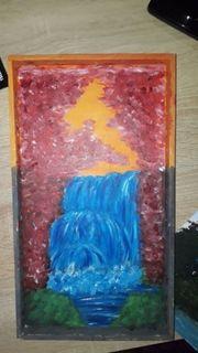 Selbstgemaltes Wasserfall Bild auf Holz