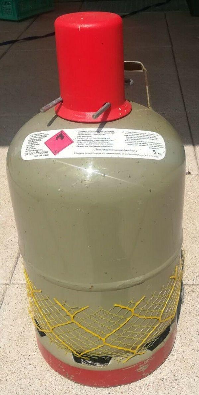 Gasflasche Stahl 5 kg Tüv geprüft komplett gefüllt.