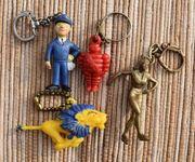 4 alte Schlüsselanhänger Werbefiguren ARAL-MICHELIN-PEUGEOT-VEEDOL