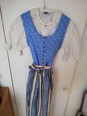 Isar-Trachten Mädchen Kinderdirndl blau mit