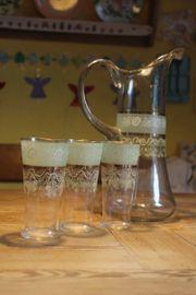 Biedermeier Krug mit Gläsern