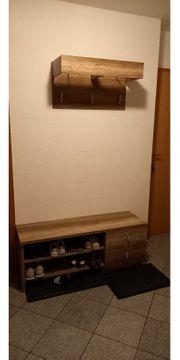 4-teilige Garderobe in Eiche Dunkelbraun