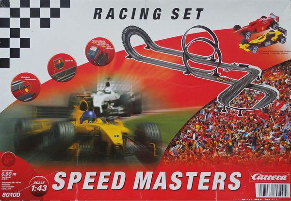 Carrera-Bahn Speed Masters - Neuried - Carrera-Bahn Speed Masters 30100 (analog) mit 2 Rennwägen, gebraucht, einige Einzelteile leicht beschädigt (Plastikstützen), technisch funktionsfähig. - Neuried