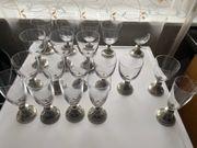 18x verschiedene Gläser mit Zinn