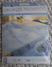 hellblaue ORGANZA-Tisch-Mittel-Decke Neu OVP