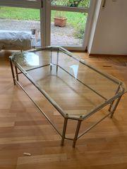 Exklusiver Glas-Metall-Couchtisch Wohnzimmertisch