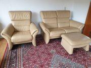 Couchgarnitur Echtleder beige