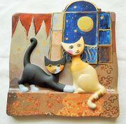 Goebel Porzellanbild Relief Katzenbild Rosina
