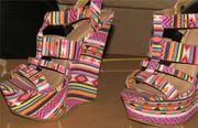 bunte Wedges Sandalen High Heels